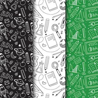 Colección de patrones dibujados a mano de regreso a la escuela