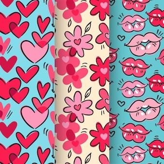 Colección de patrones dibujados a mano de san valentín
