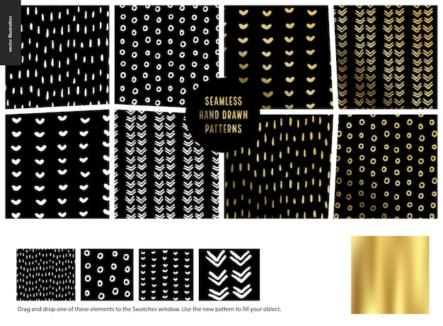 Colección de patrones dibujados a mano