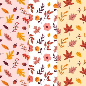 Colección de patrones dibujados en otoño