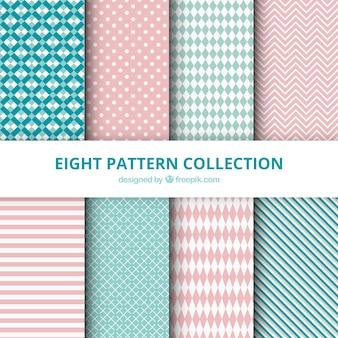 Colección de patrones con dibujos abstractos