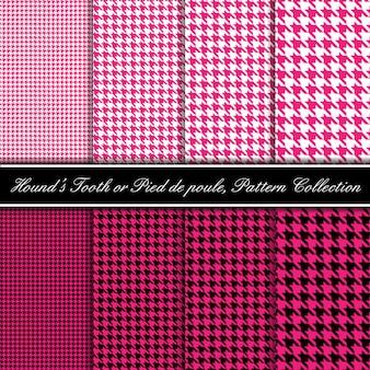 Colección de patrones de dientes de sabueso rosa