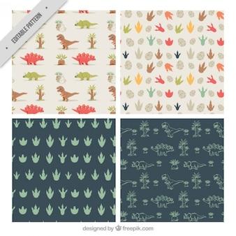 Colección de patrones de dinosaurios y huellas
