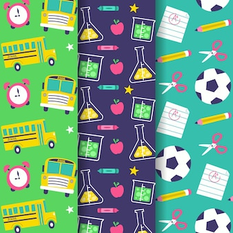 Colección de patrones de diseño plano de regreso a la escuela