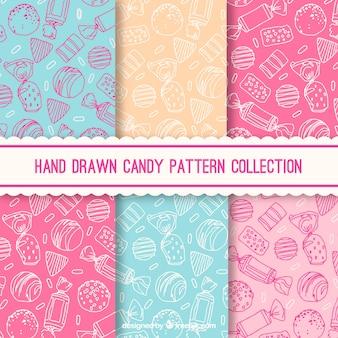 Colección de patrones de dulce con colores diferentes