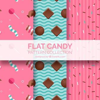 Colección de patrones de dulces coloridos en estilo plano