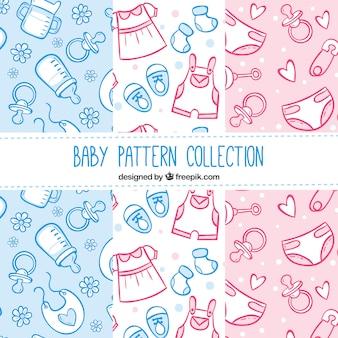 Colección de patrones de elementos de bebé