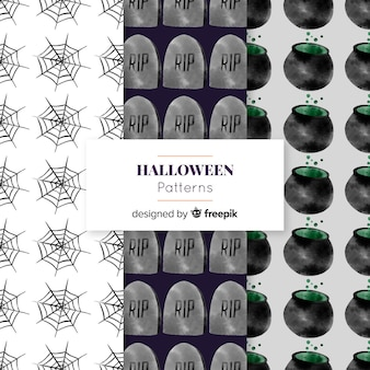 Colección de patrones con elementos de halloween en acuarela