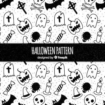 Colección de patrones con elementos de halloween en blanco y negro