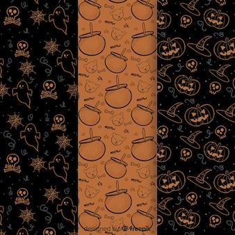 Colección de patrones de elementos de halloween dibujados a mano