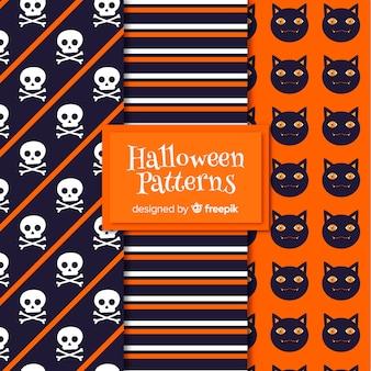 Colección de patrones con elementos de halloween en diseño plano