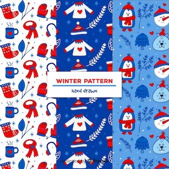 Colección patrones elementos invierno