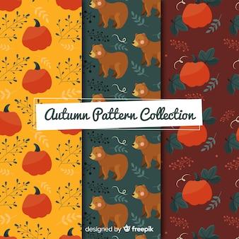 Colección de patrones de elementos planos de otoño