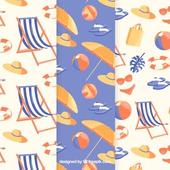 Colección de patrones de elementos de verano con elementos de playa