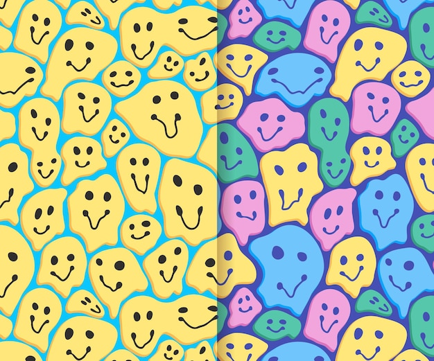 Colección de patrones de emoticonos de sonrisa distorsionada