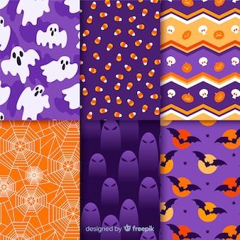 Colección de patrones para una espeluznante noche de halloween
