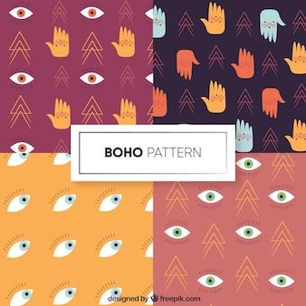 Colección de patrones de estilo boho con diseño plano
