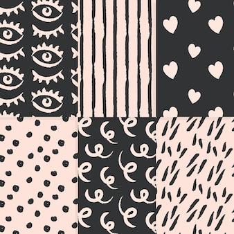 Colección de patrones de estilo dibujados a mano