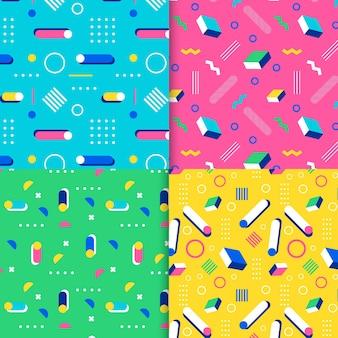 Colección de patrones de estilo de memphis