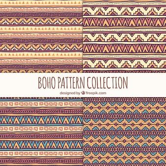 Colección de patrones étnicos dibujados a mano
