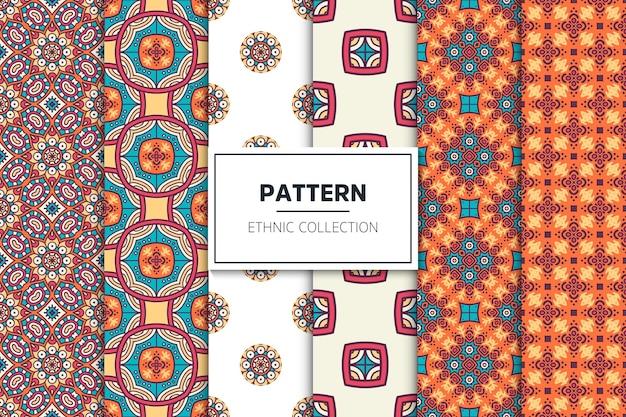 Colección de patrones étnicos ornamentales de lujo