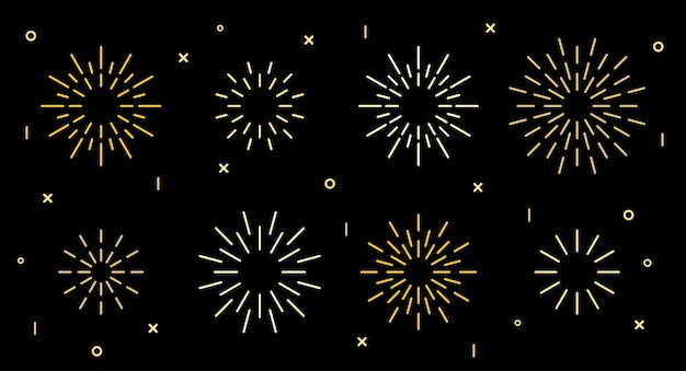 Colección de patrones de explosión de fuegos artificiales art deco de forma de estrella brillante. patrón de petardo en forma de estrella dorada