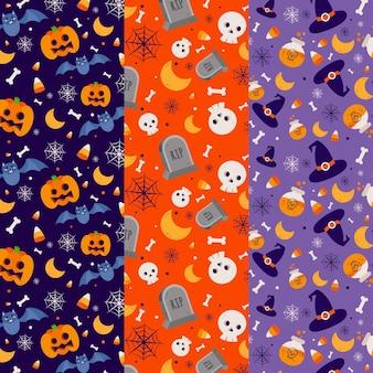 Colección de patrones de festivales de halloween