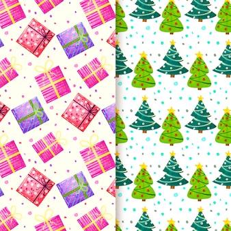 Colección de patrones festivos de navidad de acuarela