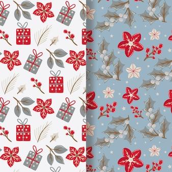 Colección de patrones festivos navideños de diseño plano