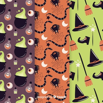 Colección de patrones de fiesta de halloween con arañas y brujas