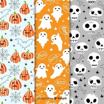 Colección de patrones de fiesta de halloween con fantasmas y calabazas