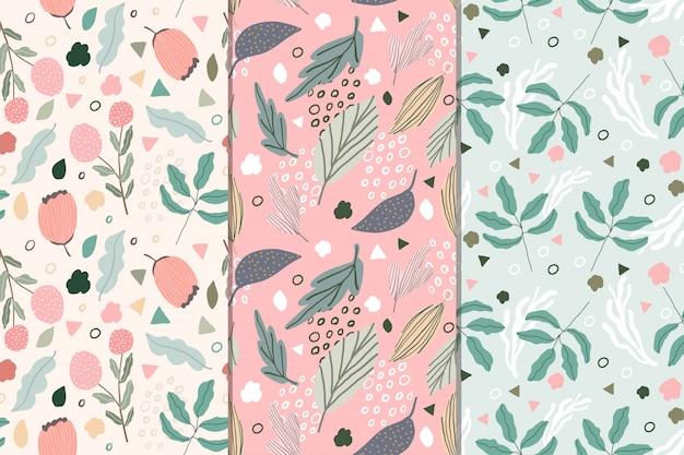 Colección de patrones sin fisuras abstracto floral dulce