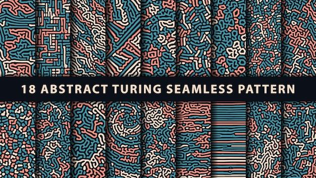 Colección de patrones sin fisuras abstractos de turing. vector premium