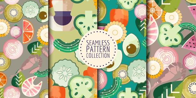 Colección de patrones sin fisuras de alimentos