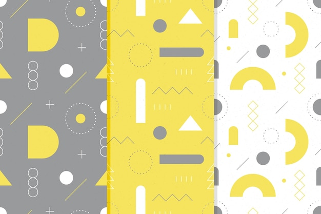 Colección de patrones sin fisuras en amarillo y gris