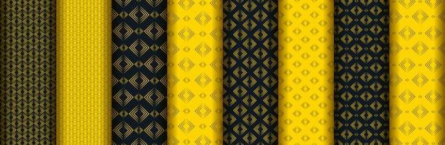 Colección de patrones sin fisuras amarillo oscuro creativo abstracto