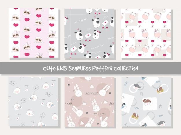Colección de patrones sin fisuras animal lindo