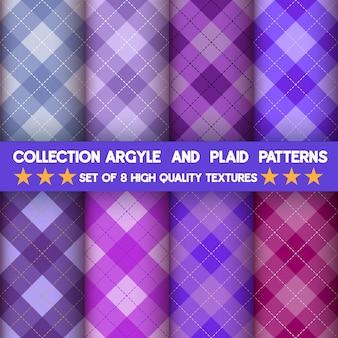 Colección de patrones sin fisuras de argyle y cuadros en fondo púrpura.