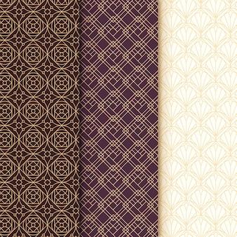 Colección de patrones sin fisuras art deco