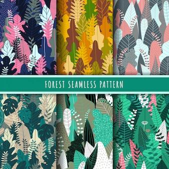 Colección de patrones sin fisuras de bosque y naturaleza.