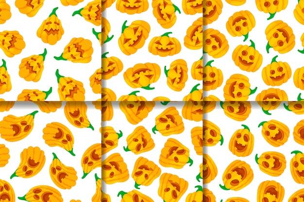 Colección de patrones sin fisuras cara divertida calabazas.