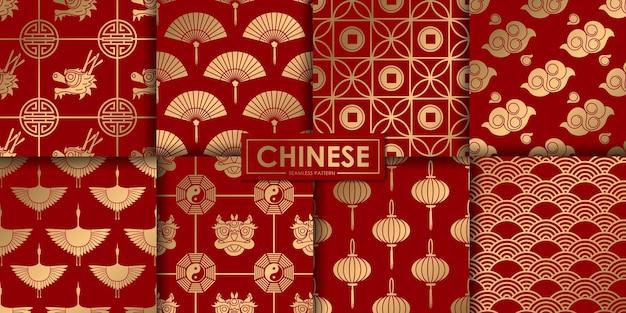 Colección de patrones sin fisuras chinos dorados.
