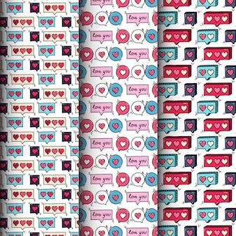 Colección de patrones sin fisuras de corazón doodle