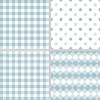 Colección de patrones sin fisuras a cuadros azul pastel