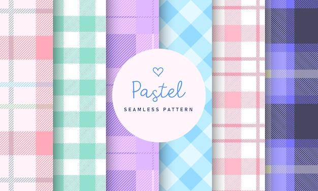Colección de patrones sin fisuras de cuadros a cuadros tartán pastel