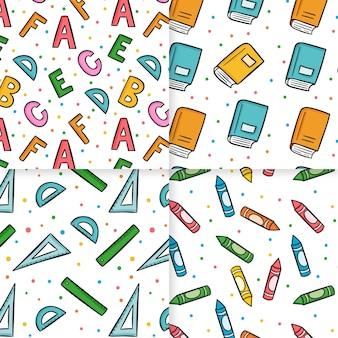 Colección de patrones sin fisuras dibujados a mano de la escuela