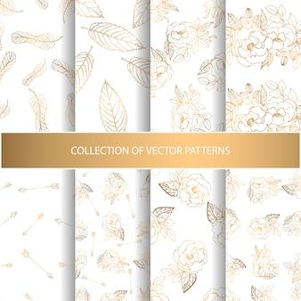 Colección de patrones sin fisuras dibujados a mano