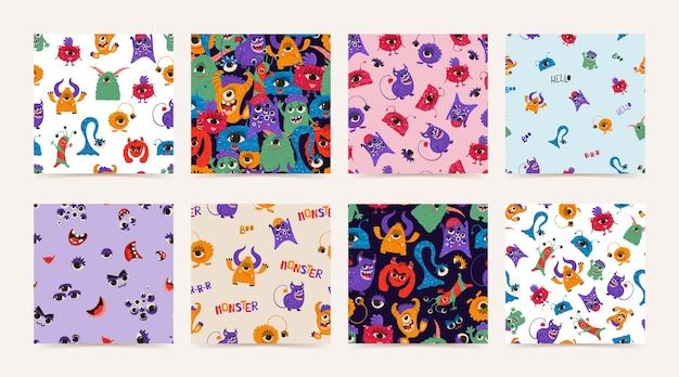 Colección de patrones sin fisuras con divertidos monstruos en estilo de dibujos animados