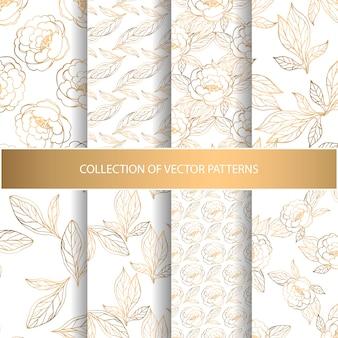 Colección de patrones sin fisuras con elementos florales dorados.