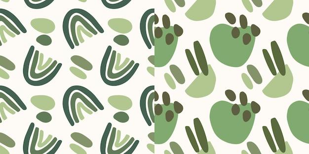 Colección de patrones sin fisuras de forma verde dibujada a mano